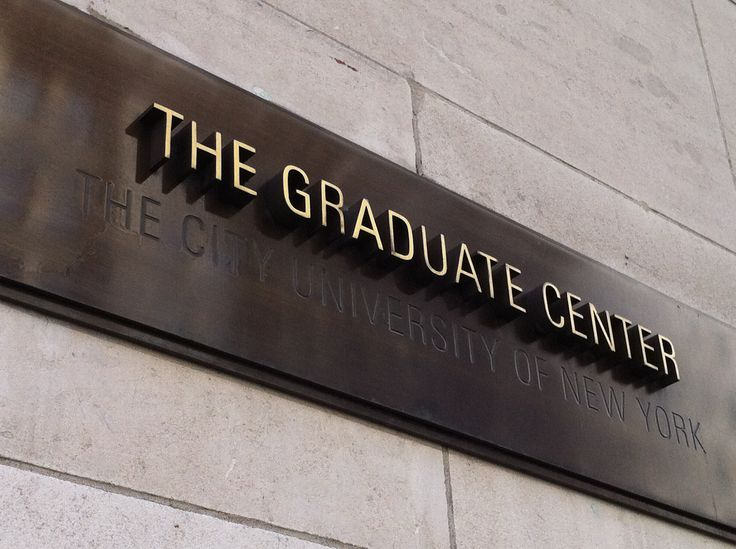 The Graduate Center identity sign. Dimensional and engraved type.