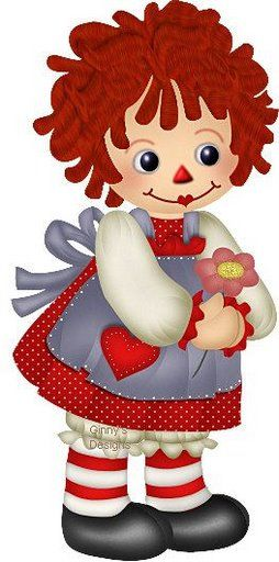 *RAGGEDY ANN: This is the image that I used years ago from a coloring book for an applique.
