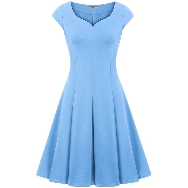 Amazon.com: Rockabilly Dress,Bebonnie Women Stretch Solid Chic... ($16) ❤ liked on Polyvore featuring dresses, rockabilly dresses, tea party dresses, blue rockabilly dress, knee length dresses and light blue knee length dress