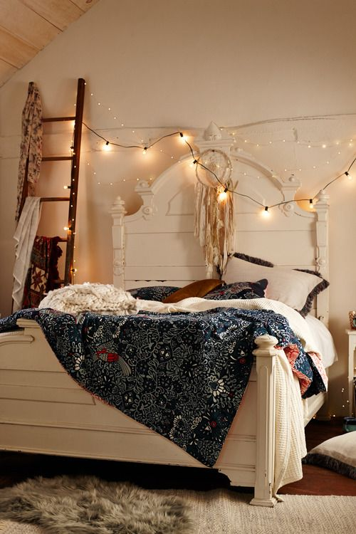 White bed, white bedding colorful throws