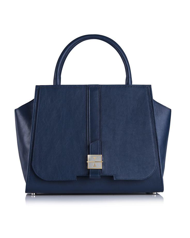 MELIA cow leather handbag in Deep Night Blue by TANCHEL