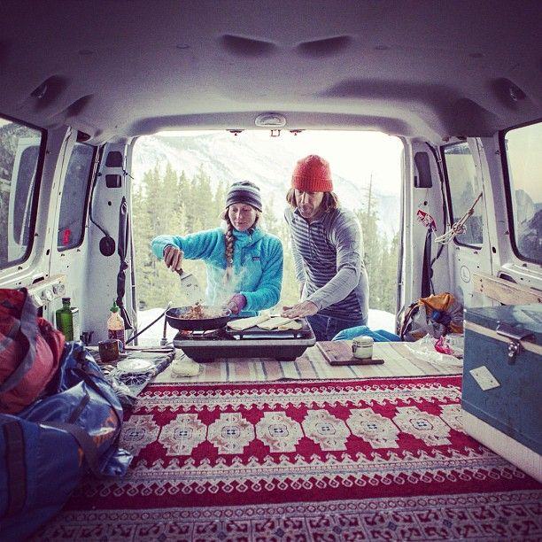 @Oceangoingmonkey and Lisa Bediant cooking dinner in Tuolumne Meadows, California. Photo by @jeffjohnson_beyondandback #funhogging #vanlife #patagonia