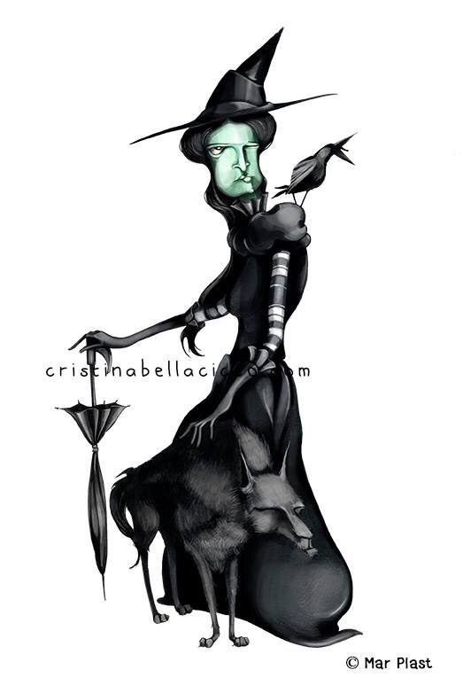 """""""Wicked Witch of the West"""" illustration Colored Edition by Mar Plast © Cristina Bellacicco"""