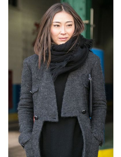 Love this Celine grey jacket + black @J.Crew knit + massive black scarf with hair tuck | ELLE's NYFW AW14 street style | @ELLE Magazine (US) UK