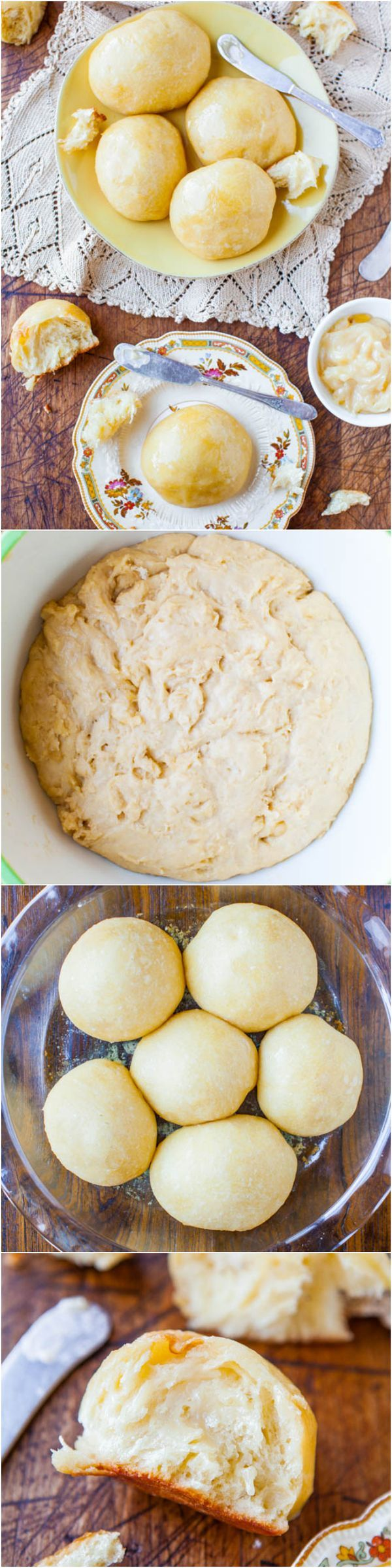 No-Knead Make-Ahead Dinner Rolls with Honey Butter - The easiest dinner rolls ever! No kneading, no fuss & you can make the dough ahead of time! Perfect for holiday meals & parties. Easy recipe at averiecooks.com