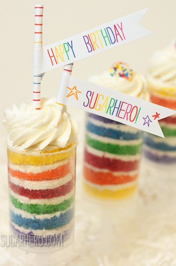 Rainbow Cake Push-Up Pops - these would be the perfect St. Patrick's Day dessert!   SugarHero.com