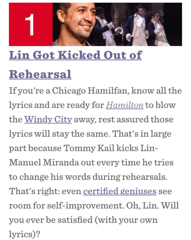 Lin-Manuel Miranda wants to improve Hamilton by changing lyrics. Director makes him leave rehearsals when he tries.