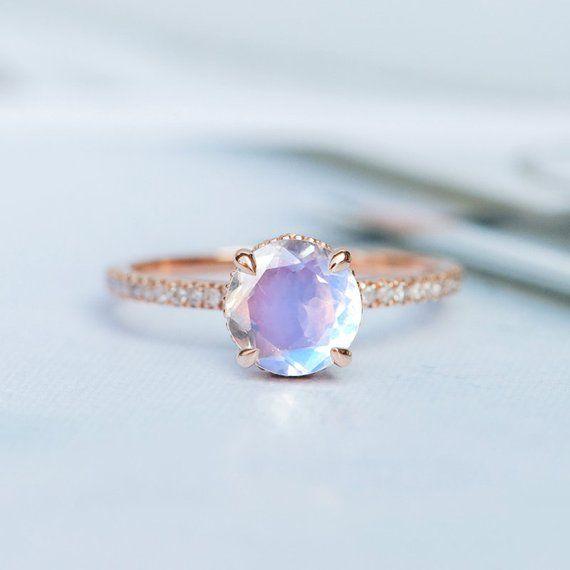 Moonstone Engagement Ring Sets Bridal Ring Art Deco Wedding Rose Gold Bridal Ring Diamond Stacking Half Eternity Promise Ring Rainbow