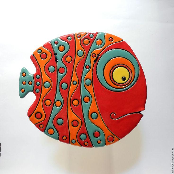 Купить Керамическое панно «Рыба» - Керамика, рыба, глина, шамот, шамот, глазурь