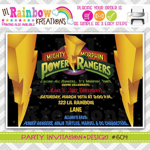 604 DIY Power Rangers Party Invitation Or Thank You Card on – Power Rangers Party Invitations
