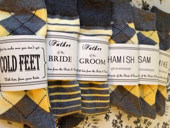 Solid Grey w/ Yellow Toe Groomsmen Socks by CUTEnCRAFTYshop, $6.00 #omnivorus.com
