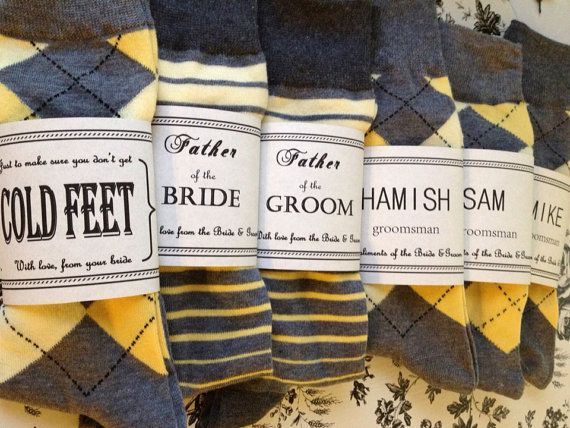 Solid Grey w/ Yellow toe Groomsmen Socks & by CUTEnCRAFTYshop, $6.00 (would be wedding colors obviously)