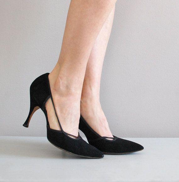 50s shoes / 1950s heels / Dovima stilettos by DearGolden on Etsy, $48.00