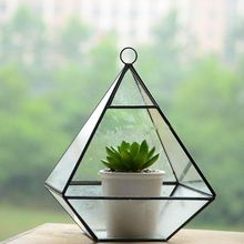 Home Decor Diamond Vorm Kristalglas Vaas Bloem Planter Terrarium Glazen Container Hydrocultuur Pot Woondecoratie Accessoires(China (Mainland))