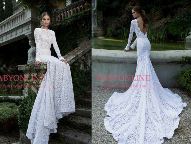 2014 Vintage Romantic Wedding Dresses Lace Jewel Neck Long Sleeve Sash Backless Mermaid Bridal Gown BO3920 $249.00