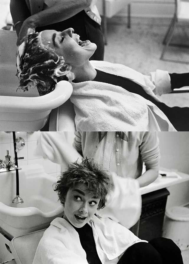 Audrey Hepburn getting her hair shampooed on the set of Sabrina