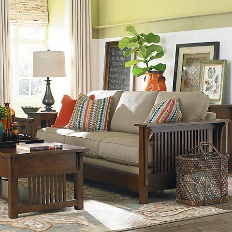 """Hmmm.  What about picking up this look in the """"reading room""""/front living room. Bassett Grove Park sofa 2009-62, starts at sale price $1,025.00.  Wide choice of fabric."""