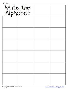 Write the Alphabet Grid   Beginning of Year Ideas ...