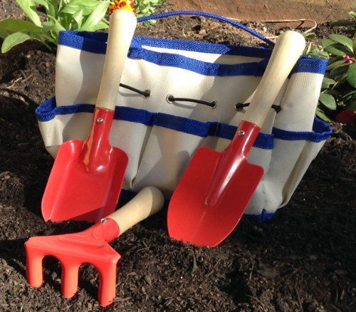 Childrens Gardening Tools and Bag - 4-piece - Quality Steel Garden Tools for Kids with Tough Canvas Tote Happy Caterpillar,http://www.amazon.com/dp/B00D4JV9NQ/ref=cm_sw_r_pi_dp_ZMFltb1ABDA04AK7