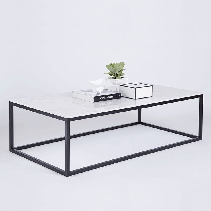 White Iron Table Part - 47: Modern Designer Marble Coffee Table - Black Steel Metal Base