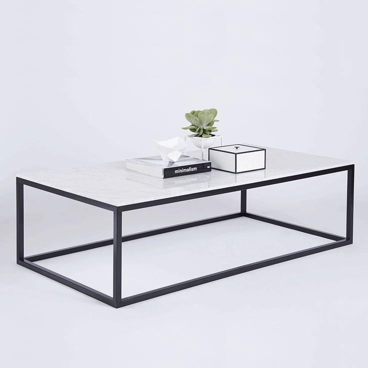 Modern Designer Marble Coffee Table Black Steel Metal Base