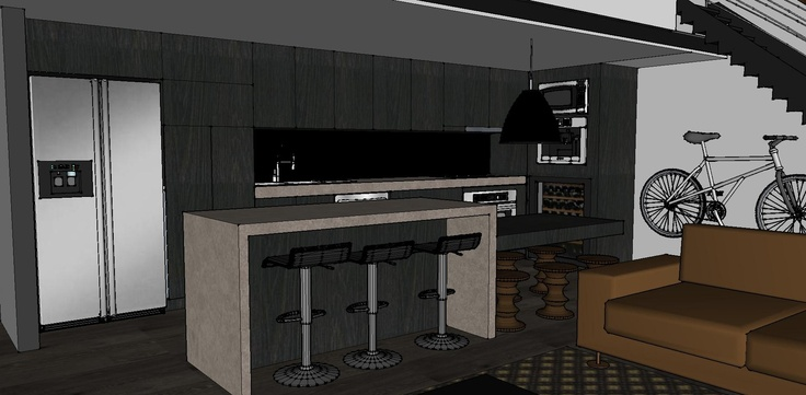 New York style loft apartment - Dark kitchen mockup with caesar stone bench, island bench and dark walls/floors.