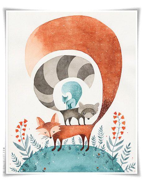Amigos del bosque Animal colección acuarela 12 x 16 por evajuliet