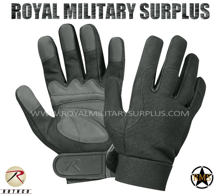 Tactical Gloves - Mechanics - BLACK (Black Tactical) - 37,95$ (CAD) | BLACK (Black Tactical) Tactical Camouflage Pattern Military Mechanics Design Made following Military Specifications Polyester & Leather Construction Synthetic Leather Padded Palms Reinforced Fingers & Palm Moisture Wicking Technology Adjustable Wrist (Hook & Loop) BRAND NEW Available Sizes : S - M - L - XL http://www.royalmilitarysurplus.com/Gloves_c23.htm