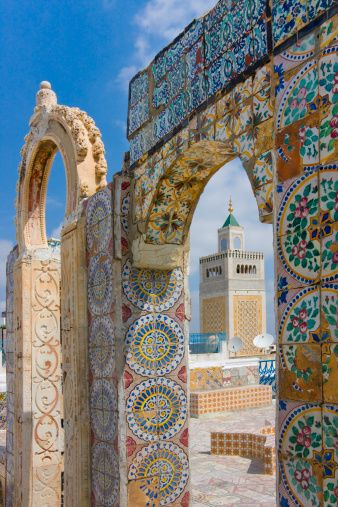 Zaitouna Mosque, Tunis, Tunisia--LOVING THE TILES. so delicate and vibrant!