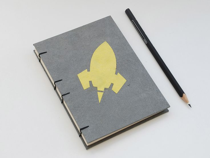 Space Rocket handmade coptic stitched notebook: Grey&Yellow - EUR - Euro13.90