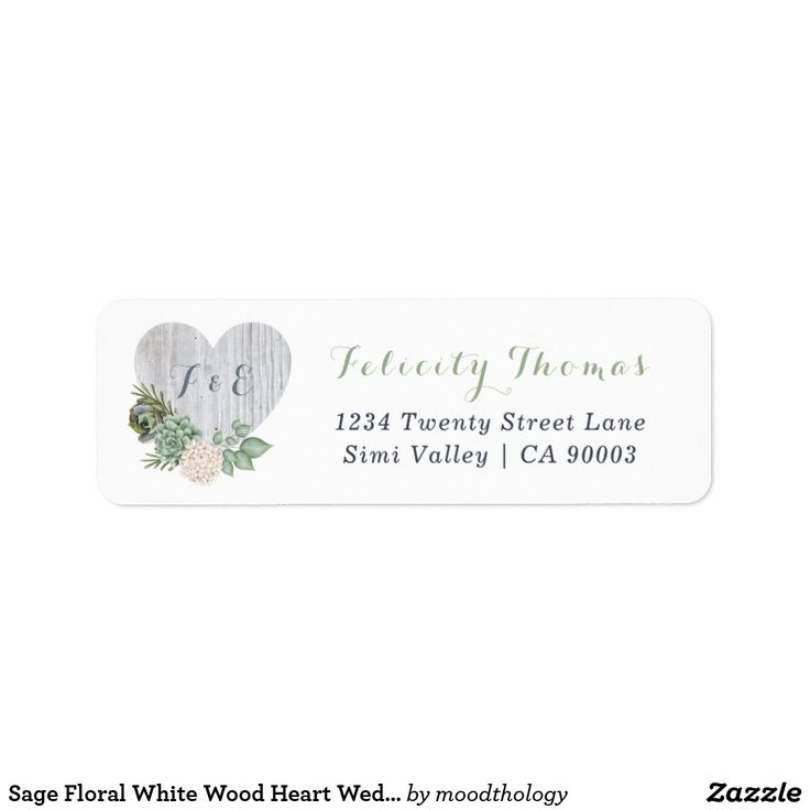 Sage Floral White Wood Heart Wedding Address Label