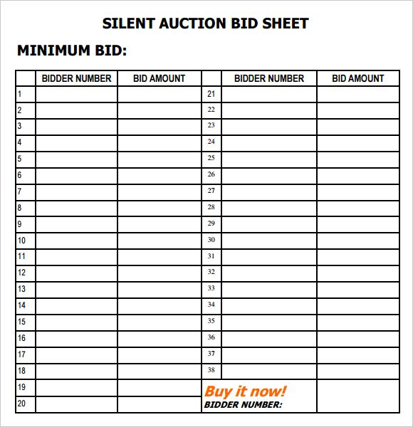 Silent Auction Bid Sheet Template Letter of Intent Template