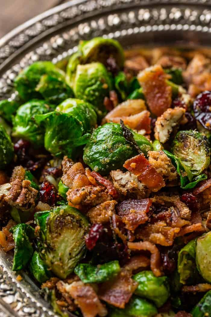 Looking for the best side dish? A side dish that is easy to make, but looks fancy for guests? We love these pan roasted candied pecan bacon brussels sprouts!