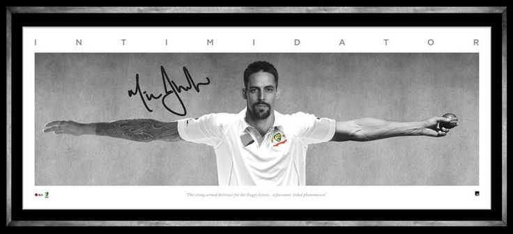 INTIMIDATOR - MITCHELL JOHNSON  Pays tribute to the dominance of Australian spearhead Mitchell Johnson Personally signed by Mitchell Johnson Limited in edition to 500 units only Officially licensed by Cricket Australia Authenticated by A-Tag Accompanied with a Certificate of Authenticity Presnted in a deluxe timber frame Approx frame size 1200mm x 460mm