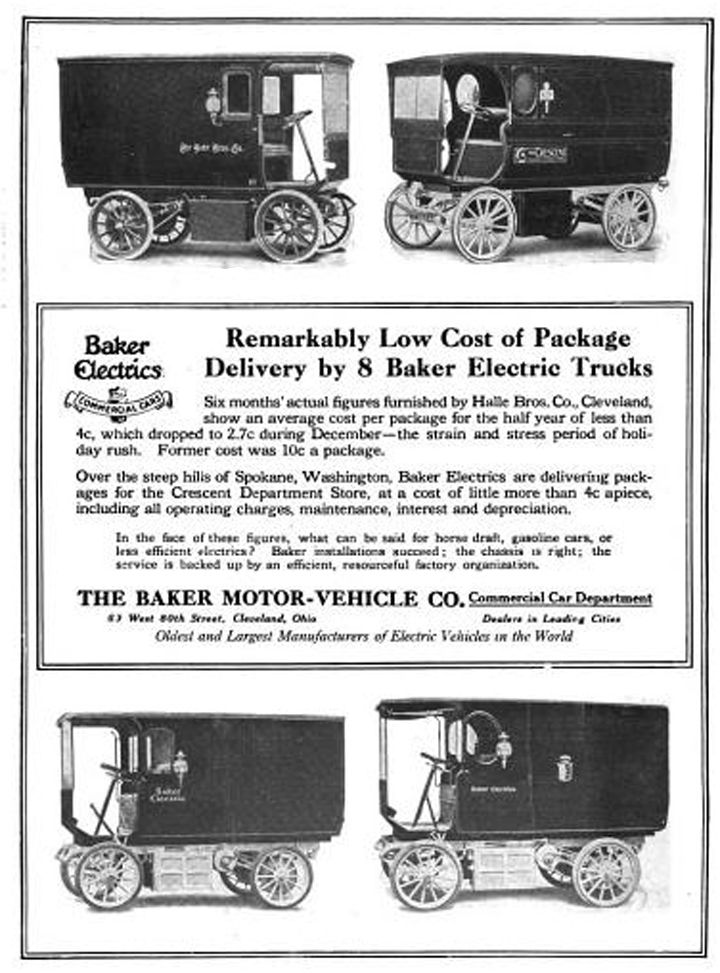 1912 - Baker Electric Motor-Vehicles Co. of Cleveland, Ohio - Commercial Car Department  Date 	1912  Source 	Power Trucks