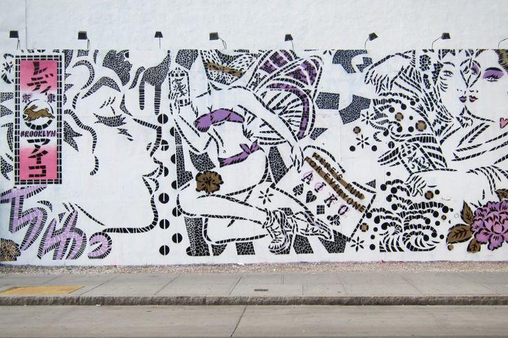 Aiko Nakagawa Mural @ Bowery & Houston NYC Graffiti Wall.: Aiko Nakagawa, Bowery Murals, Graffiti Wall, Aiko Murals, Nyc Graffiti, Houston Nyc, Artists Real, Aiko Houston Bowery Mur, Artists Enliven