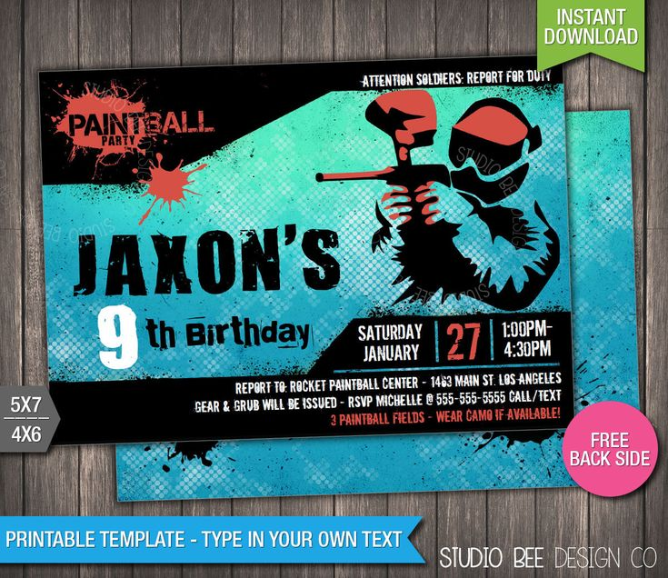 Paintball Invitation - INSTANT DOWNLOAD - Printable Paintball Birthday Invite - Birthday Invitation - DIY Personalize & Print (PBin01) by StudioBeeDesignCo on Etsy https://www.etsy.com/listing/399478345/paintball-invitation-instant-download
