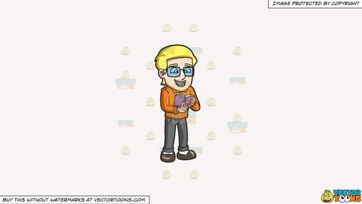 A Man With Braces Reading A Book On A Solid White Smoke F7f4f3 Background:   A blonde man wearing eyeglasses orange collared sweatshirt gray pants white socks and brown shoes smiles while showing his teeth with braces as he reads a purple pocketbook  #dental #dentist #health #teeth #clipart #vectortoons #illustration