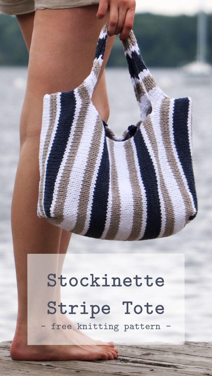 Stockinette Stripe Tote Tricô Padrão | Originalmente Adorável