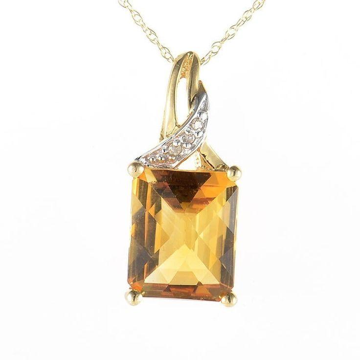 10K Gold Diamonds & Citrine Pendant Necklace