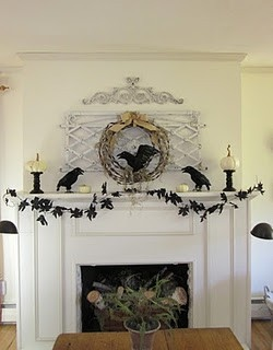 black and white works perfectly for halloween love everything about this the black leaf silhouettes in the garland inspire me to start black paper cut - When To Start Decorating For Halloween
