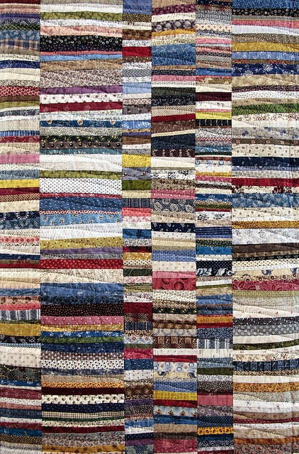 Such a simple quilt concept....can add to strips as scraps accumulate, then sew them together!