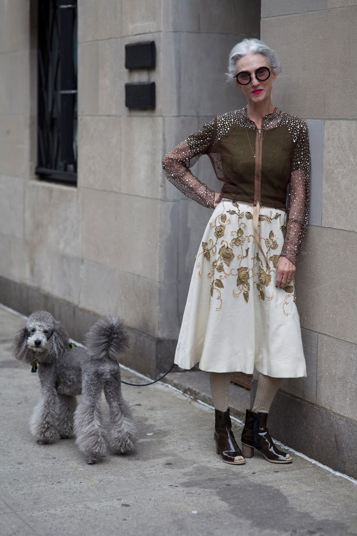 Linda Rodin, 65, and her poodle, Winky, looking fabulous. The July 2013 issue of Vogue Australia included a fantastic fashion shoot celebrating stylish older ladies like Rodin. (photo by Ari Seth Cohen)