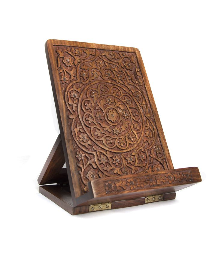 Matr Boomie Carved Book and Tablet Easel Desktop Accessory - Rosewood