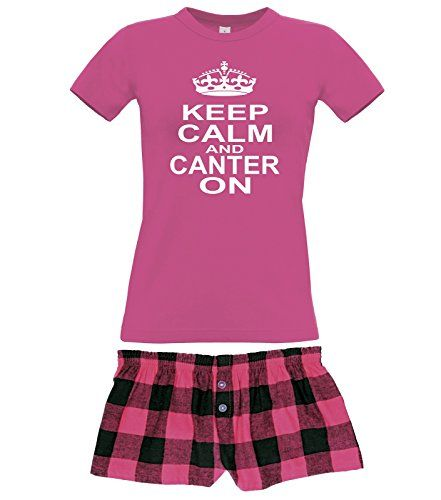 Fuchsia Women's T-Shirt & Fuchsia Buffalo Shorts Pyjama Set 'KEEP CALM AND CANTER ON' with White Print.
