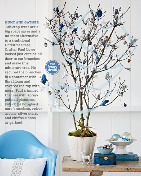 Exceptional Blue And Silver Tabletop Christmas Tree. Rescue A Few Cut Branches From  Your Yard With This Clever Mini Christmas Tree Idea.