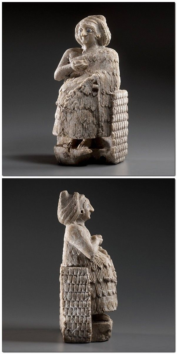 Statuette of a seated Worshipper : Culture : Sumerian Period : early Dynastic III period (middle of the 3rd millennium B.C.) Material : Alabaster, bitumen, lapis lazuli, shell (?) Dimensions : H: 31 cm