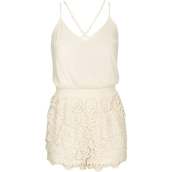 Women's Plus Size Lace Festival Playsuit | City Chic USA ($89) ❤ liked on Polyvore featuring jumpsuits, rompers, plus size jumpsuits rompers, playsuit romper, white romper, plus size womens rompers and white lace romper