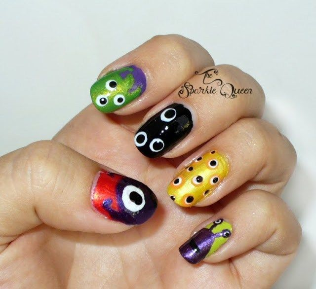 Video Tutorial for 5 Cute Monster Nail Art Looks - A Sparkly Life for Me