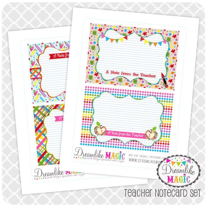 Dreamlike Magic Designs: Friday Freebie: Notecards for Teachers